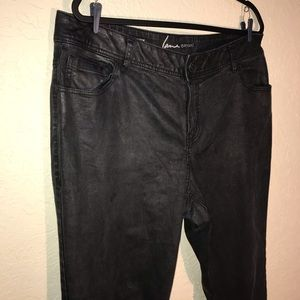 Lane Bryant Waxed Black Skinny Jeans